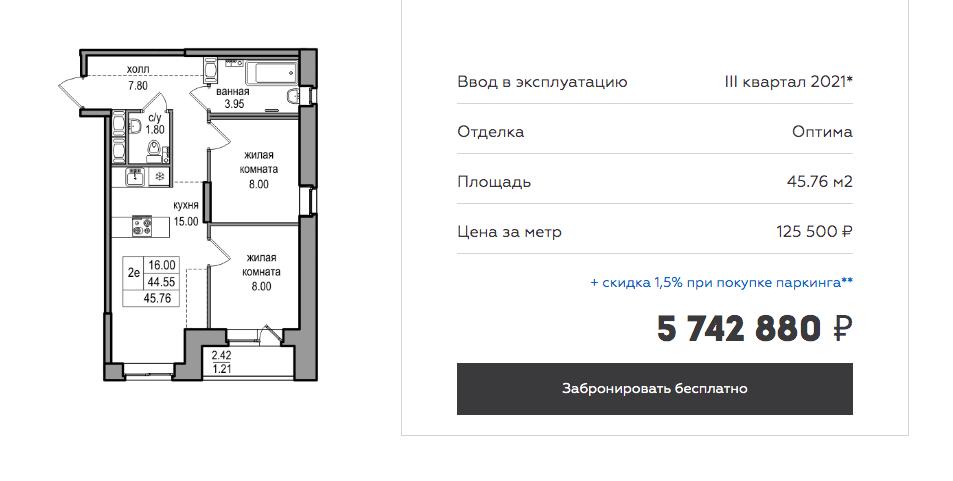 Цена аналогичной квартиры на сайте застройщика