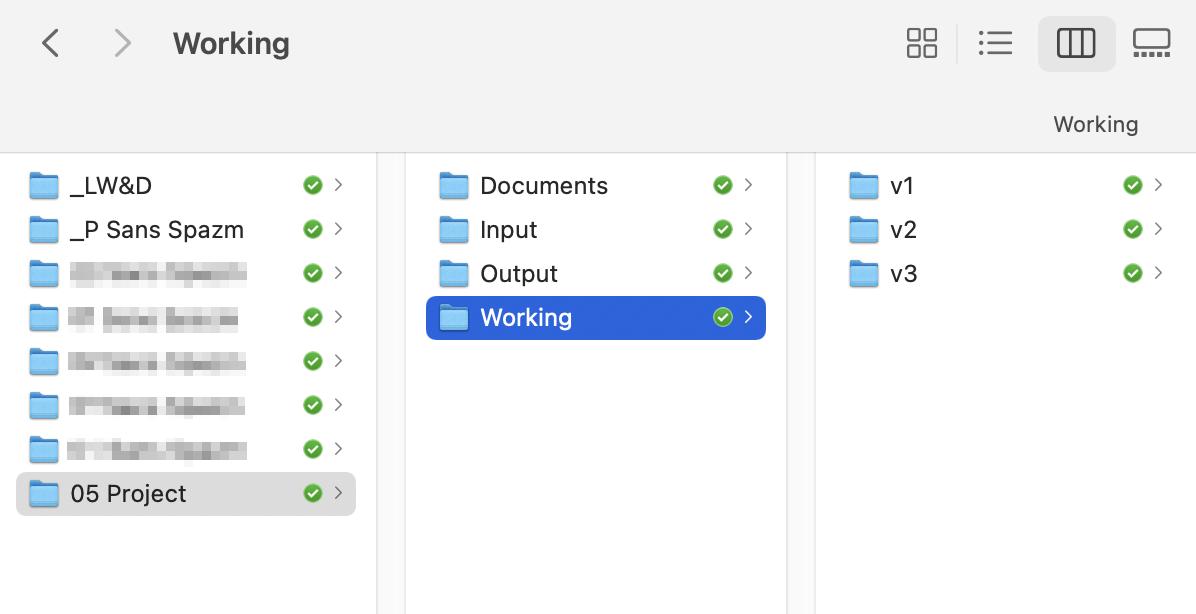 Каждый раз, когда ко мне приходит новый проект, я создаю поднего папку. Там сортирую документы по проекту, итерации дизайна, утвержденные варианты. Иногда добавляю тудаже материалы дляинстаграма или сайта