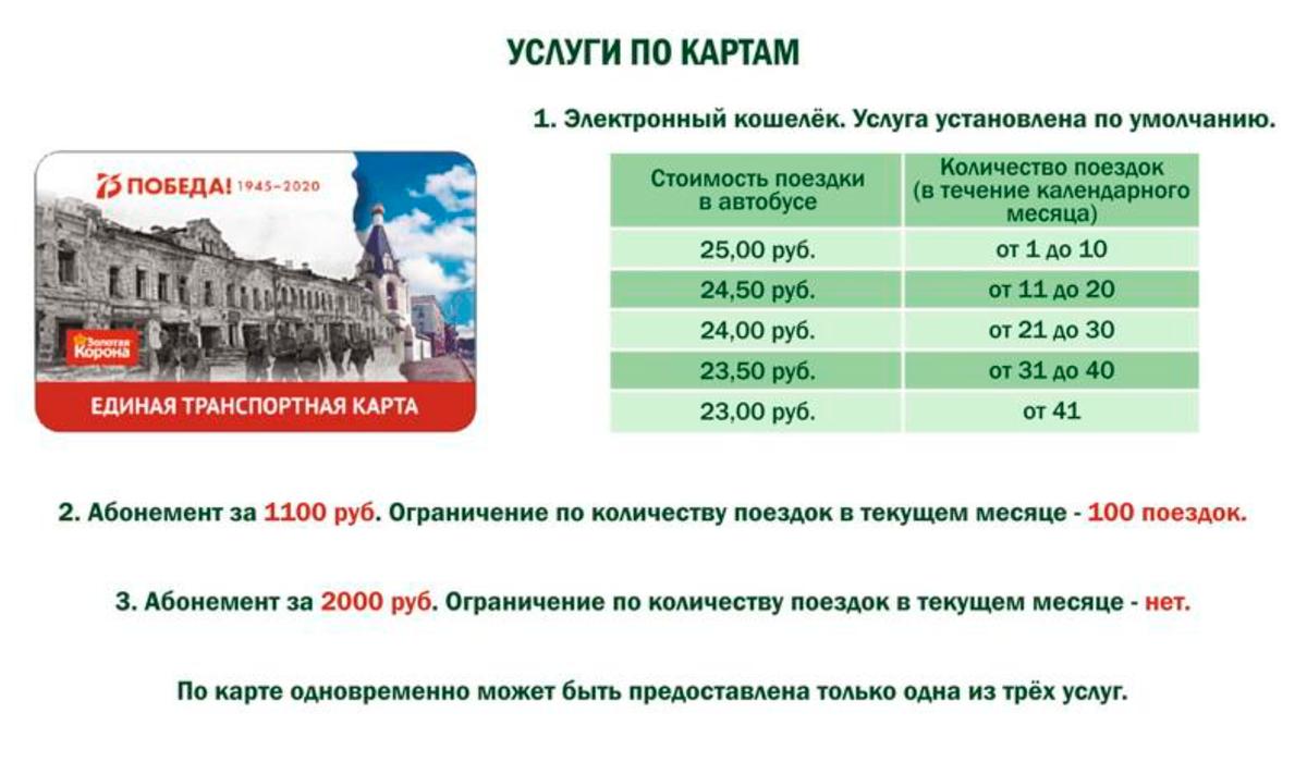 Стоимость проезда по Единой транспортной карте зависит от числа поездок. Также можно купить абонемент на 100поездок или безлимитный