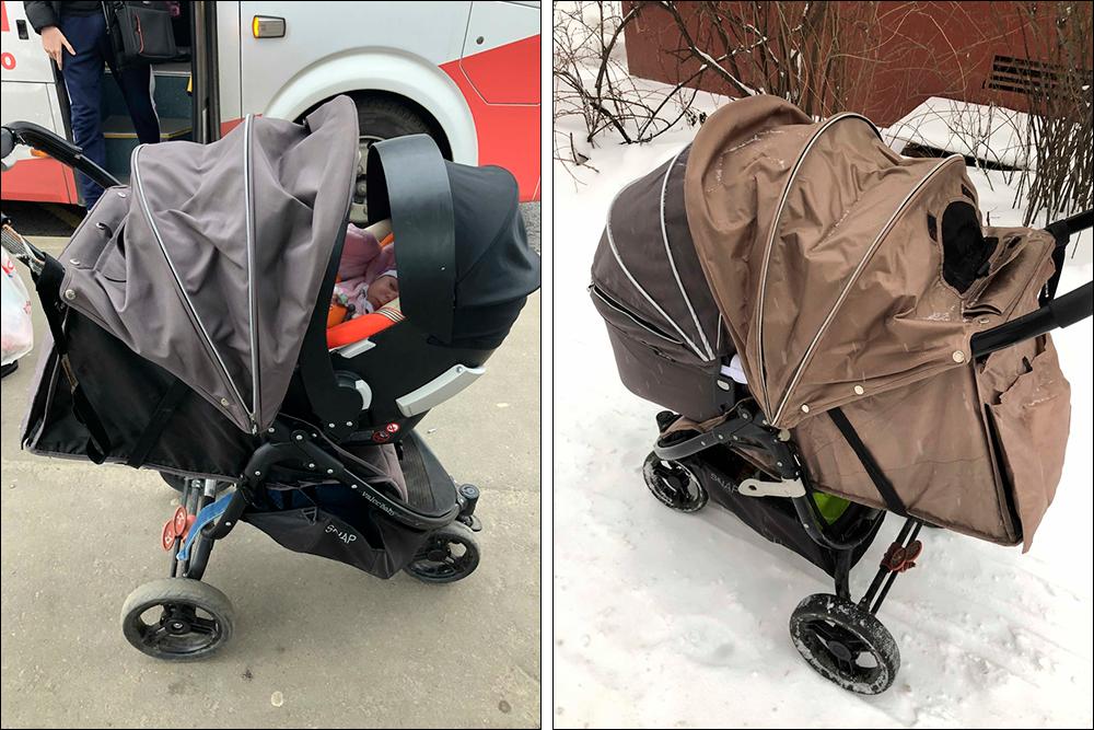 Выглядит неочень изящно, зато функционально: ребенка можно закрыть сразу двумя капюшонами иполностью защитить отнепогоды