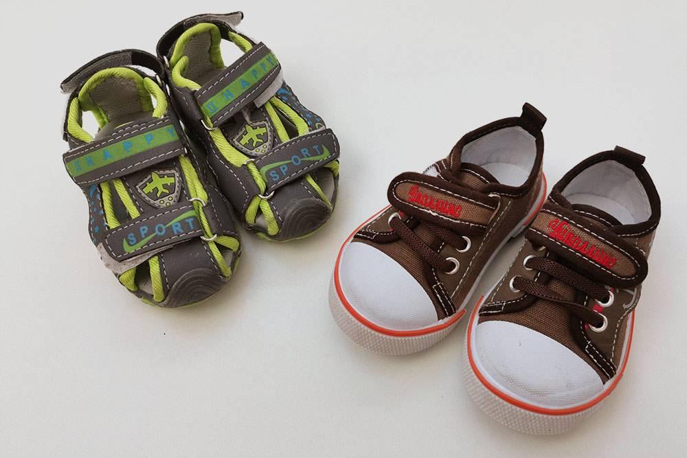 Первая обувь нашего сына — сандалии и кеды