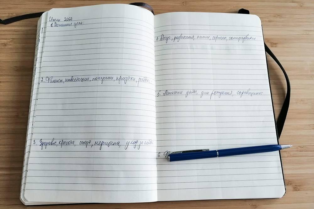 Так выглядит мое ежемесячное планирование