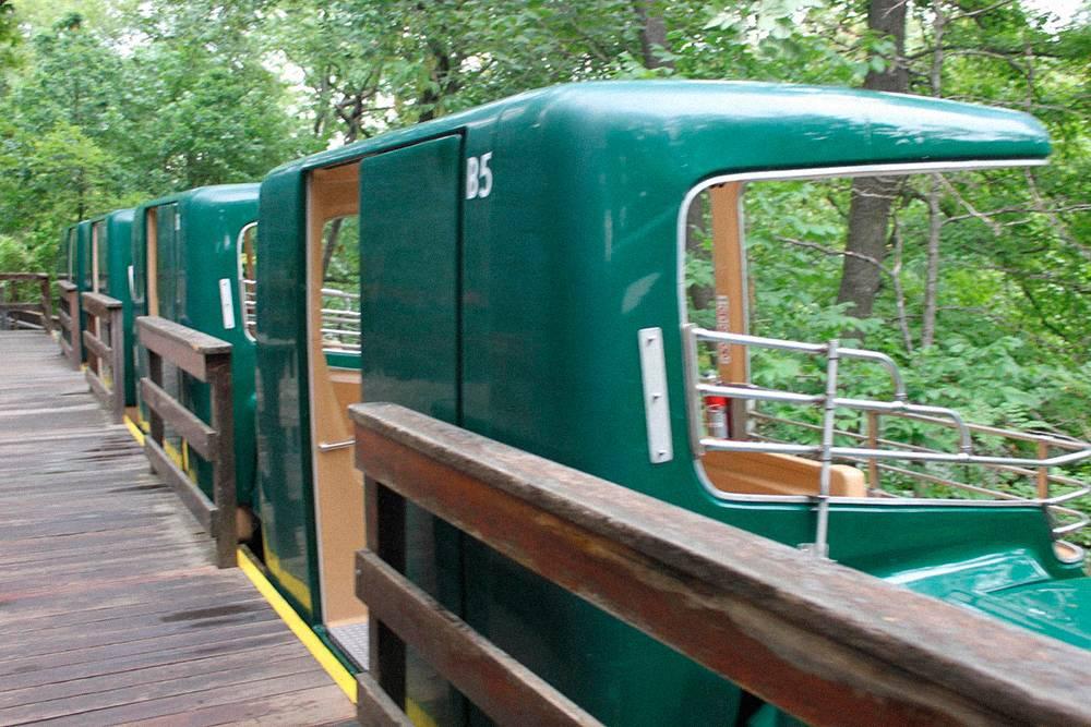 Кабинки монорельса построены так, чтобы посетители видели все перед собой