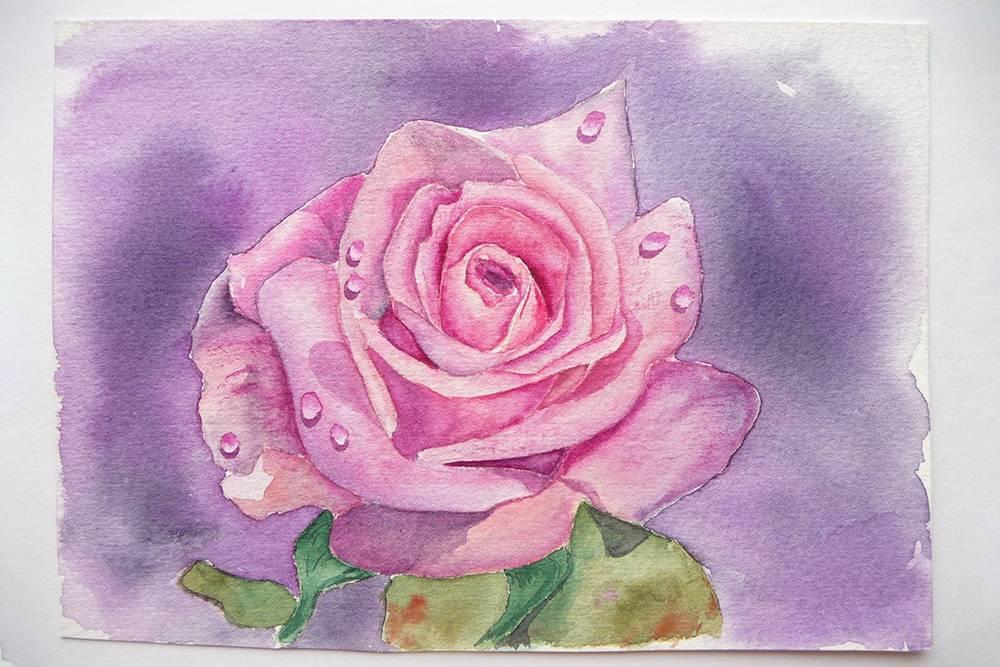 Когда я только начинала учиться, очень любила рисовать цветы, особенно розы