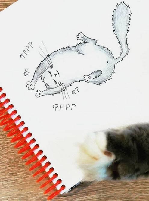 Кошка, нарисованная ручкой икарандашами снатуры