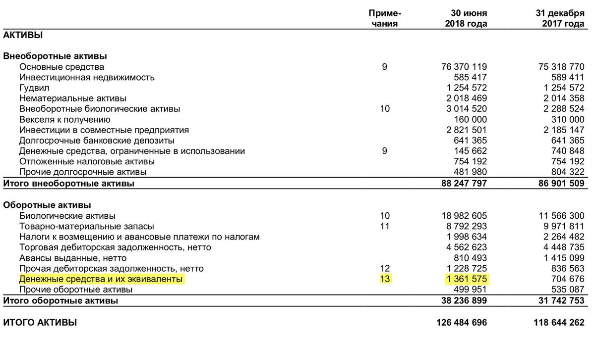 Отчет о финансовом положении «Черкизово» за 1 полугодие 2018 года, стр. 4