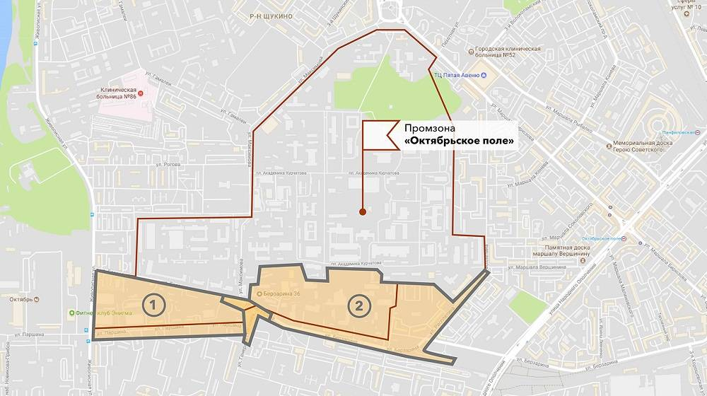 Общая площадь промзоны «Октябрьское поле» — 137,44га, но реорганизовать планируют только 47,34га