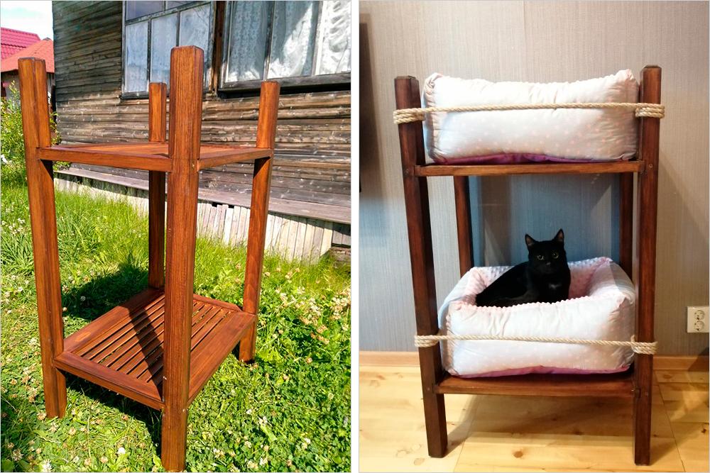 А это новое папино изобретение — двухэтажная кошачья кровать. На полки мы положили лежанки, потратили на них 1634<span class=ruble>Р</span>