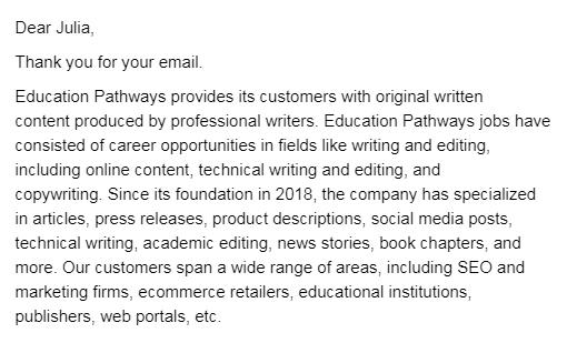 В тексте вакансии говорилось о SimpleBays, а в ответе менеджера фигурировала Education Pathways. Это другая компания, она специализируется на образовательных программах длявзрослых