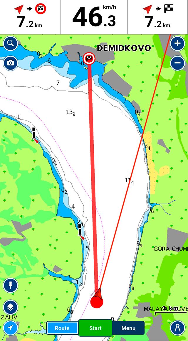 Программа Navionics с лоцией Камы