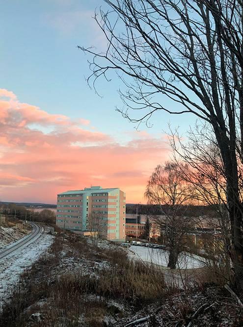 Первый день стажировки. Здание компании Valmet покрашено в цвет предрассветного шведского неба