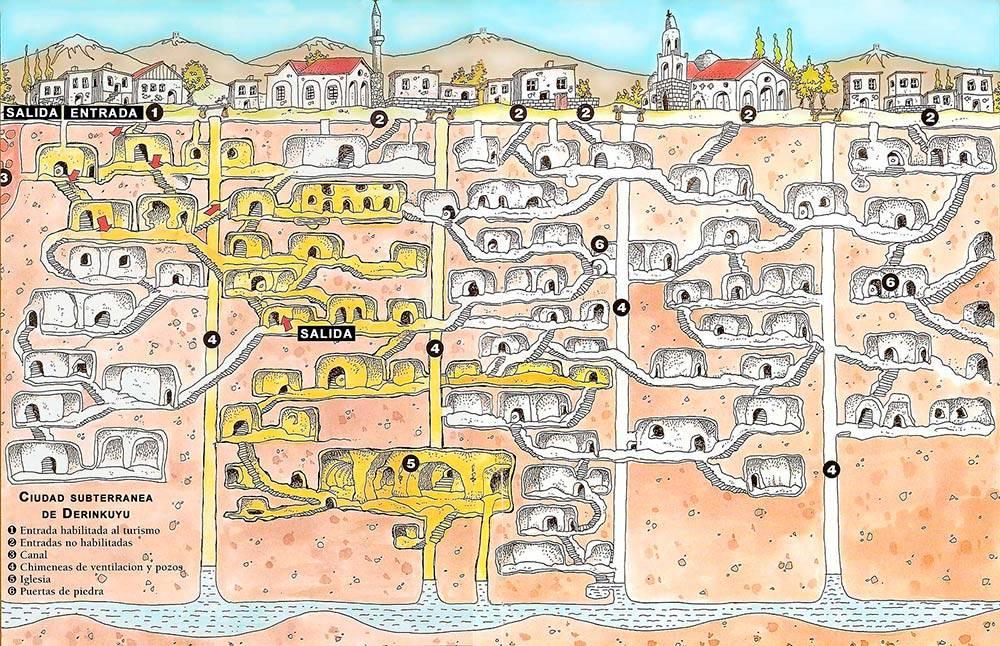Карта подземного города Деринкую. Такая же карта висела у входа в подземный город. Источник: GezenPati
