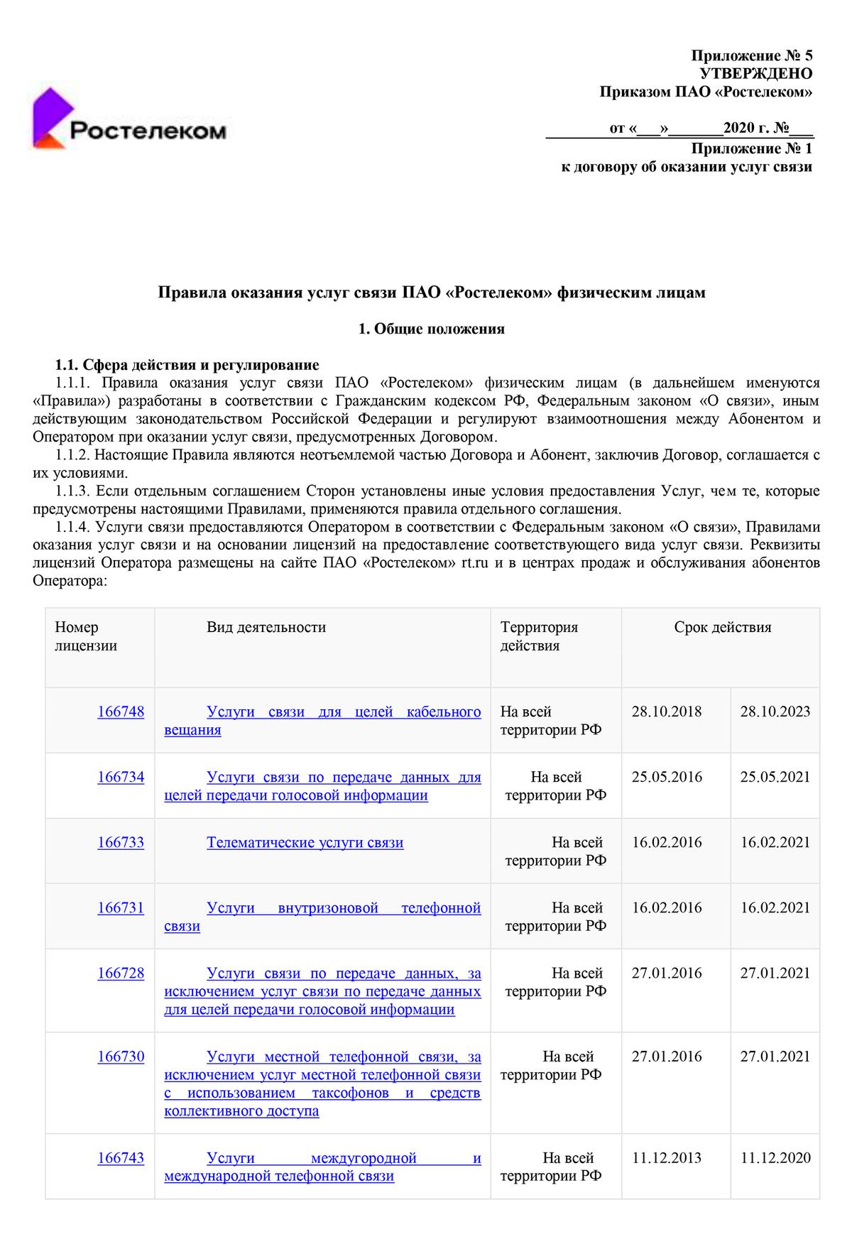 Например, так выглядят правила оказания услуг связи физическим лицам «Ростелекома»