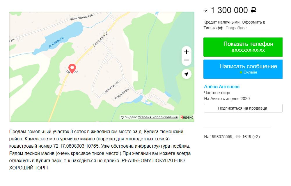 Земельный участок в селе Кулига. Источник: avito.ru