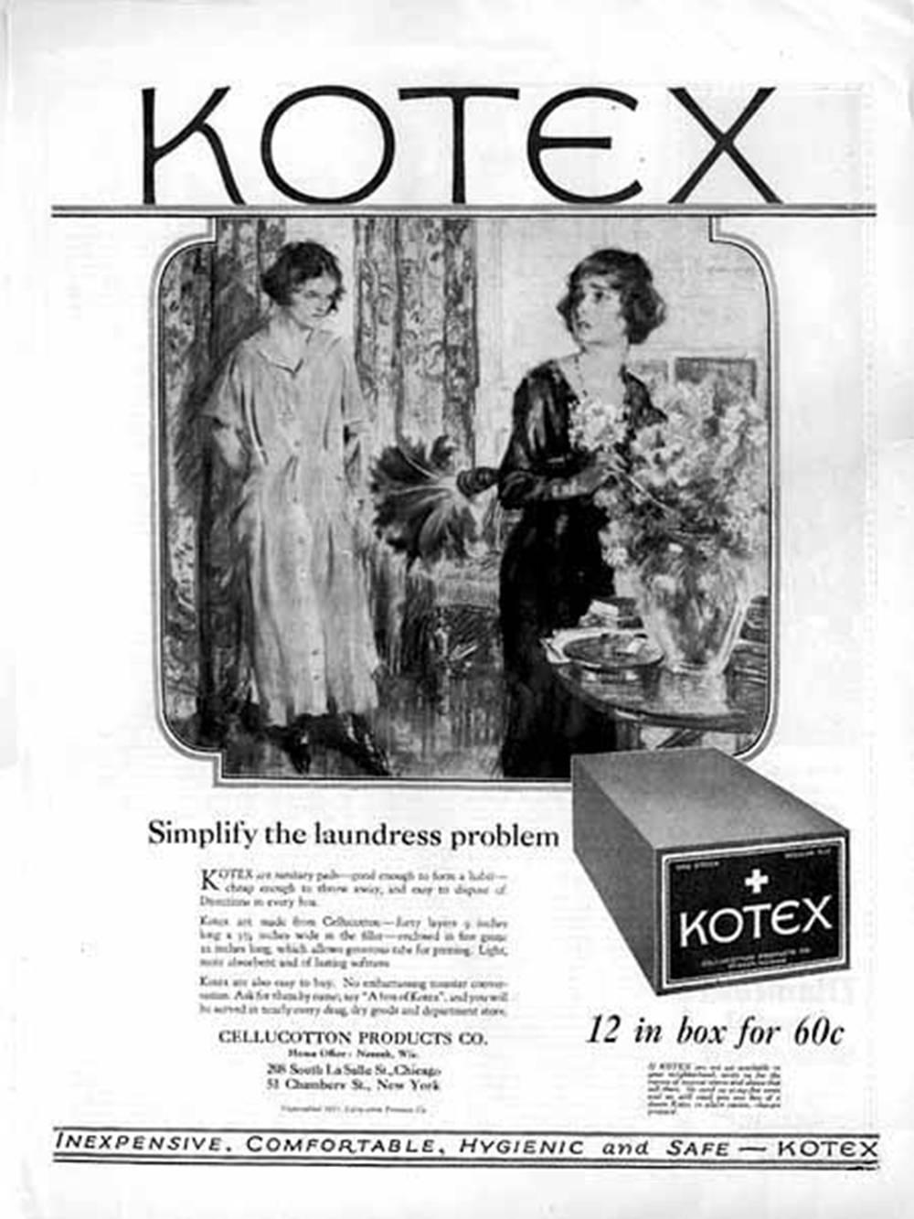 """Реклама «Котекс» в 1921году. В ней говорится, что прокладки достаточно дешевые, чтобы выкинуть их. Чтобы их купить, необходимо сказать на кассе: «Дайте коробку """"Котекс""""». Источник: mum.org"""