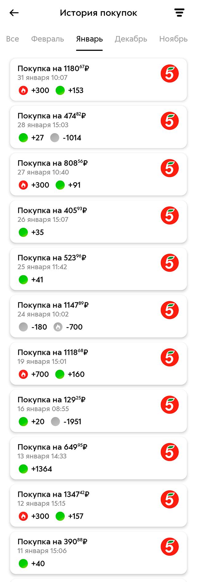 А с баллами «Пятерочки» — 478,6<span class=ruble>Р</span>. Списанные баллы отмечены серыми значками