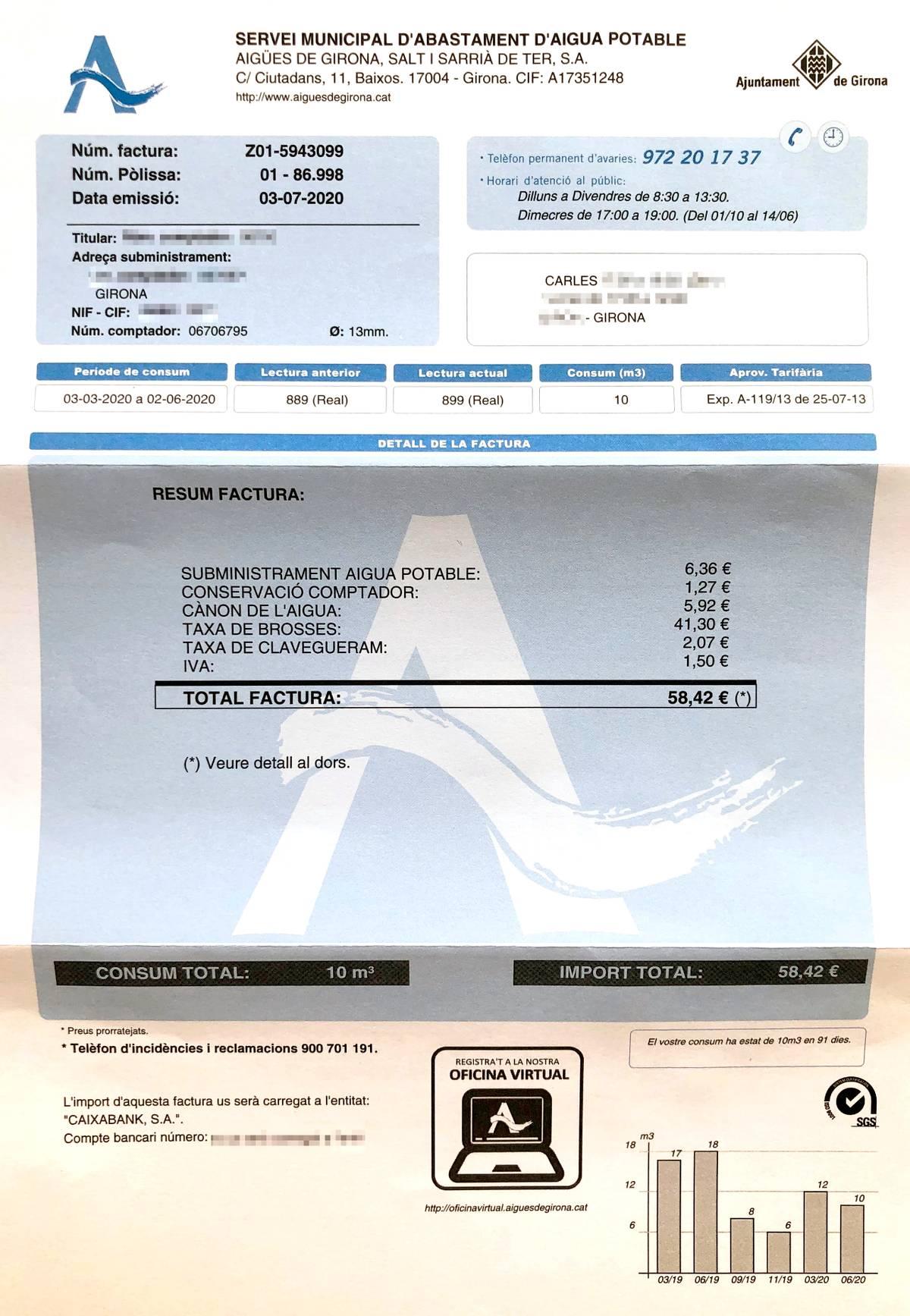 Счет за воду за три месяца, сюда же включена плата за вывоз мусора — 41,3€