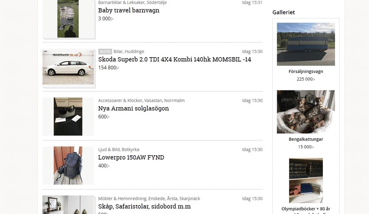 Шведский аналог Авито — интернет-барахолка blocket.se