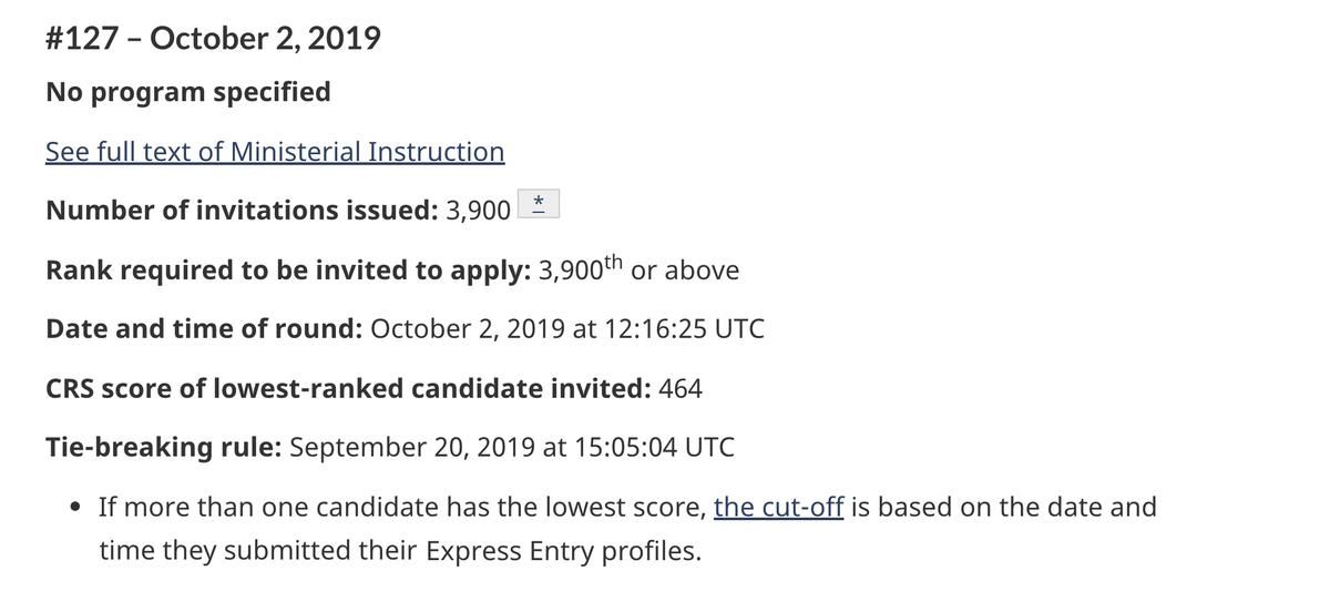 В отсеве 2 октября 2019 года проходной балл в программе Express Entry был 464