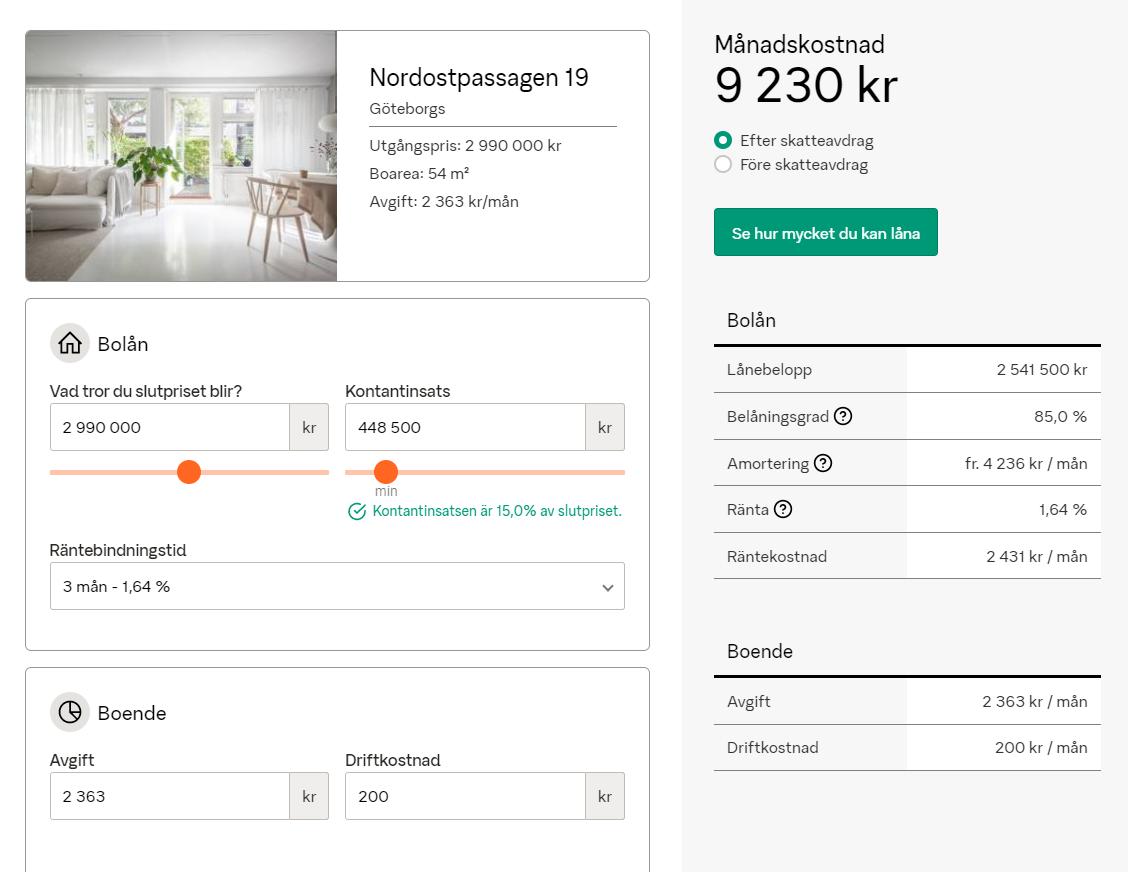 На сайтах шведских банков очень удобные кредитные калькуляторы