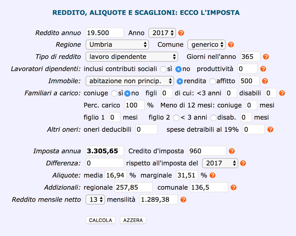 Пример расчета НДФЛ с помощью неофициального налогового калькулятора для итальянца, который получает 1500€ (117 000<span class=ruble>Р</span>) без учета налогов. Если он владеет квартирой 80 м² с кадастровой стоимостью 500€ (39 000<span class=ruble>Р</span>), сумма налога за год получится 3303,65€ (258 100<span class=ruble>Р</span>). Расчет примерный, точно рассчитать итальянский НДФЛ могут только специалисты