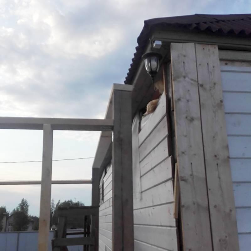 Это мой дом. Улей был в районе фонаря за белыми досками обшивки. Пчелы обосновались в утеплителе
