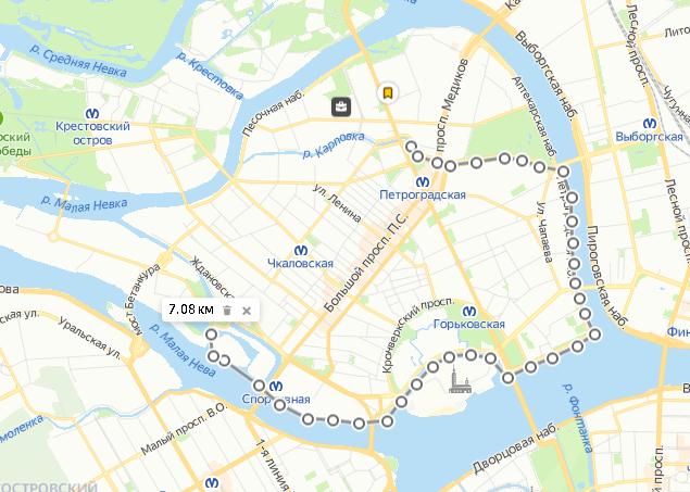 Пример моего домашнего маршрута вокруг Петроградской стороны — плыву мимо крейсера «Аврора» и Петропавловской крепости, ростральных колонн и старого стадиона «Зенита»