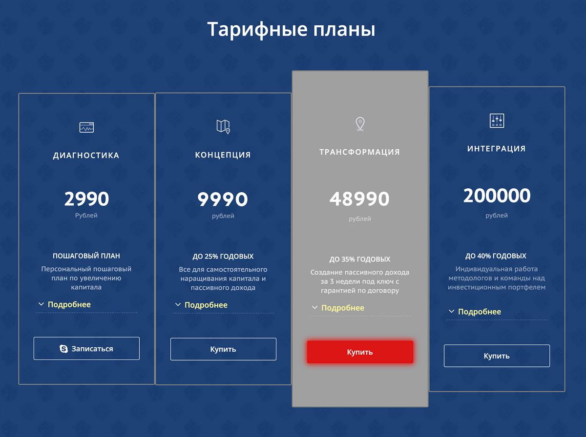 Тарифы «Финтранса» рассчитаны на любой уровень доходов — от 3 до 200тысяч рублей