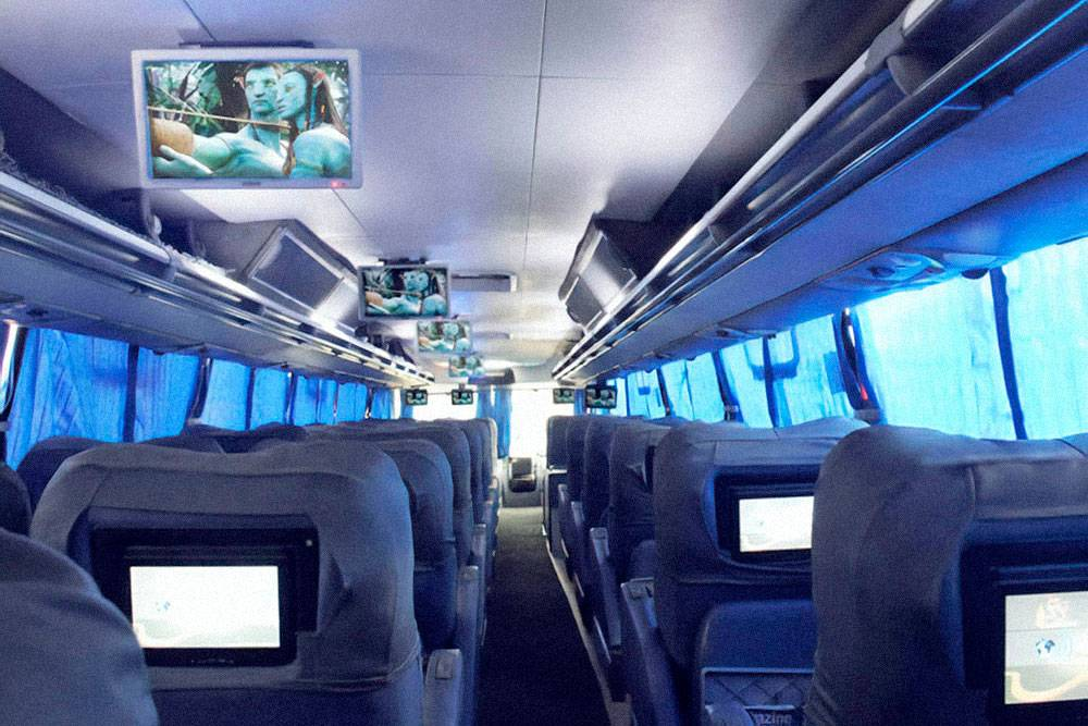 Каждый пассажир может выбирать игры и фильмы на своем мониторе. Стюард предлагает наушники, если нет своих. Фильмы показывают на испанском с английскими субтитрами. Фото с сайта компании «Круз-дель-Сюр»