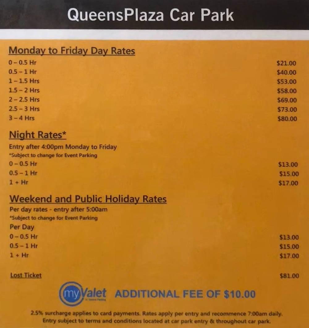 Расценки на парковку в центре Брисбена