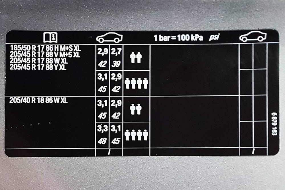 Наклейка с параметрами шин MiniJohn Cooper Works в проеме двери: размер и рекомендуемое давление приразной нагрузке