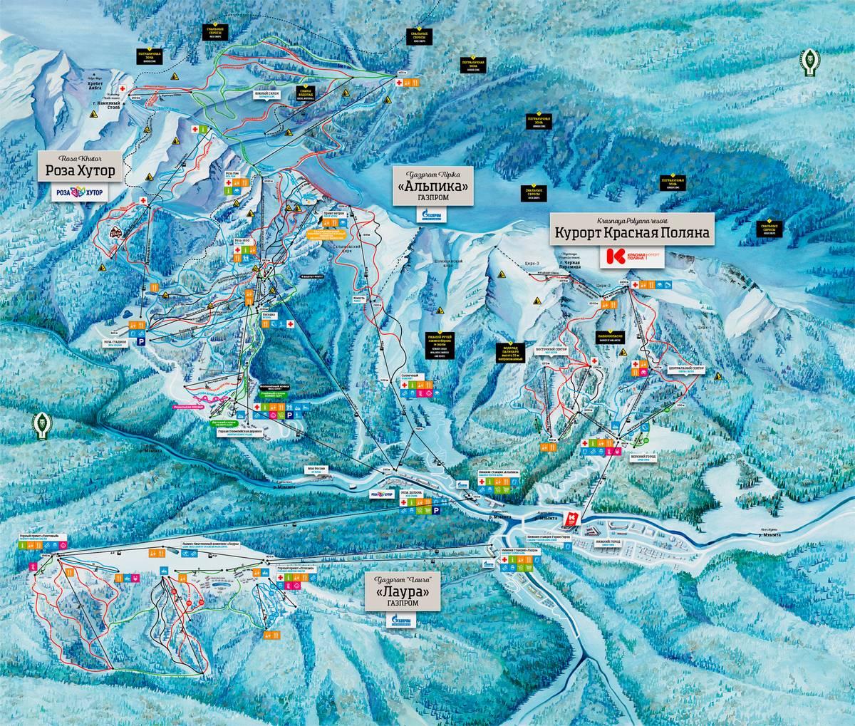 Карта всех трех курортов. Источник: сайт «Розы Хутор»