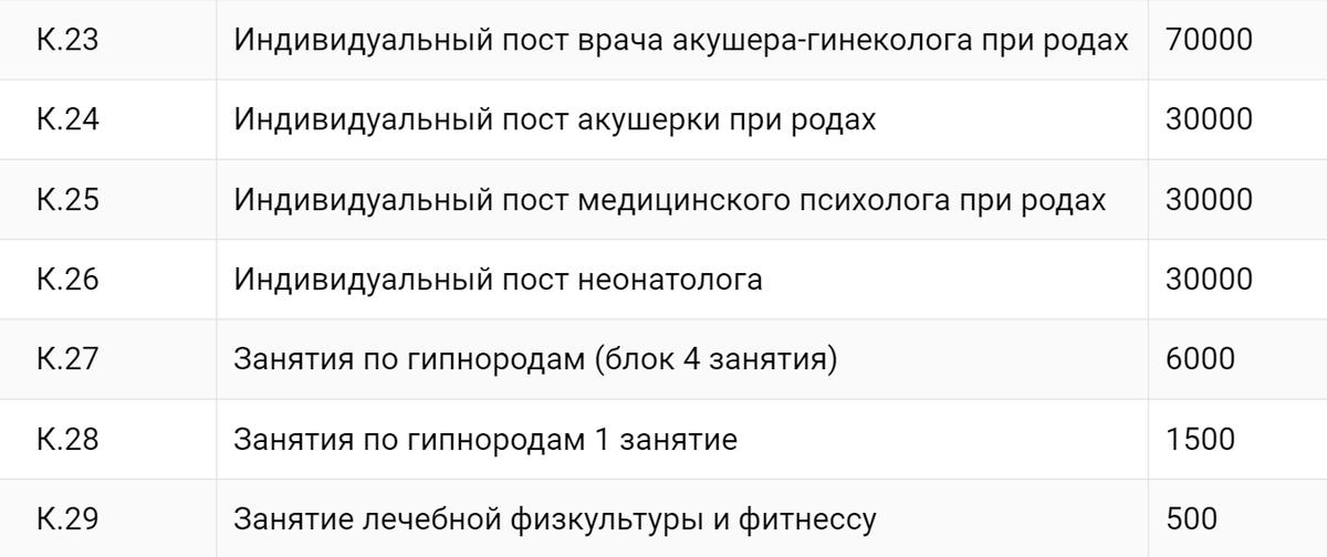 В роддоме при ГКБ им. М. П. Кончаловского услуги персональной акушерки, неонатолога и психолога стоят по 30 000<span class=ruble>Р</span>