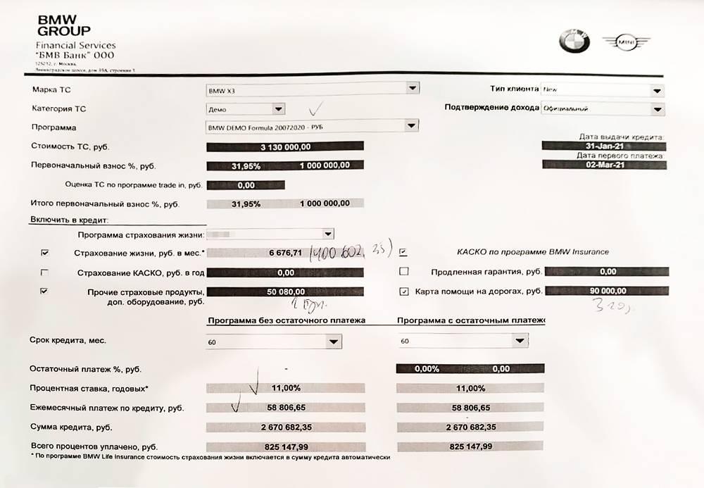 Предложение дилера с учетом покупки дополнительных услуг