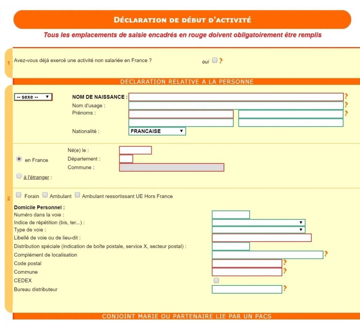 В анкете необходимо указать имя, фамилию, пол, национальность, место рождения, адрес проживания