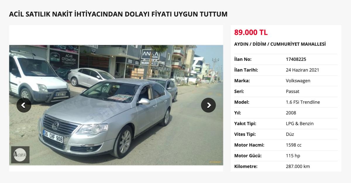 Даже на вторичном рынке автомобили стоят дорого: в России такойже Пассат обойдется примерно в 500тысяч рублей, цена в Турции в полтора раза выше — 89 000TRY