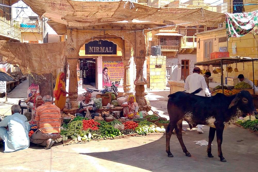 Небольшой рынок в Джайсалмере. Все продают одно и то же и охотно торгуются
