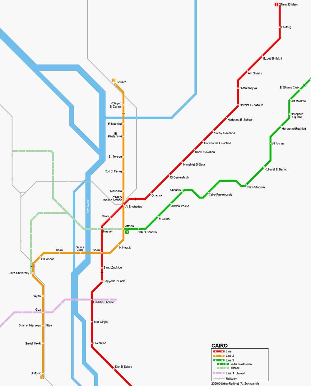 Красная ветка метро называется первой, оранжевая — второй, зеленая — третьей. Источник:Urbanrail.net