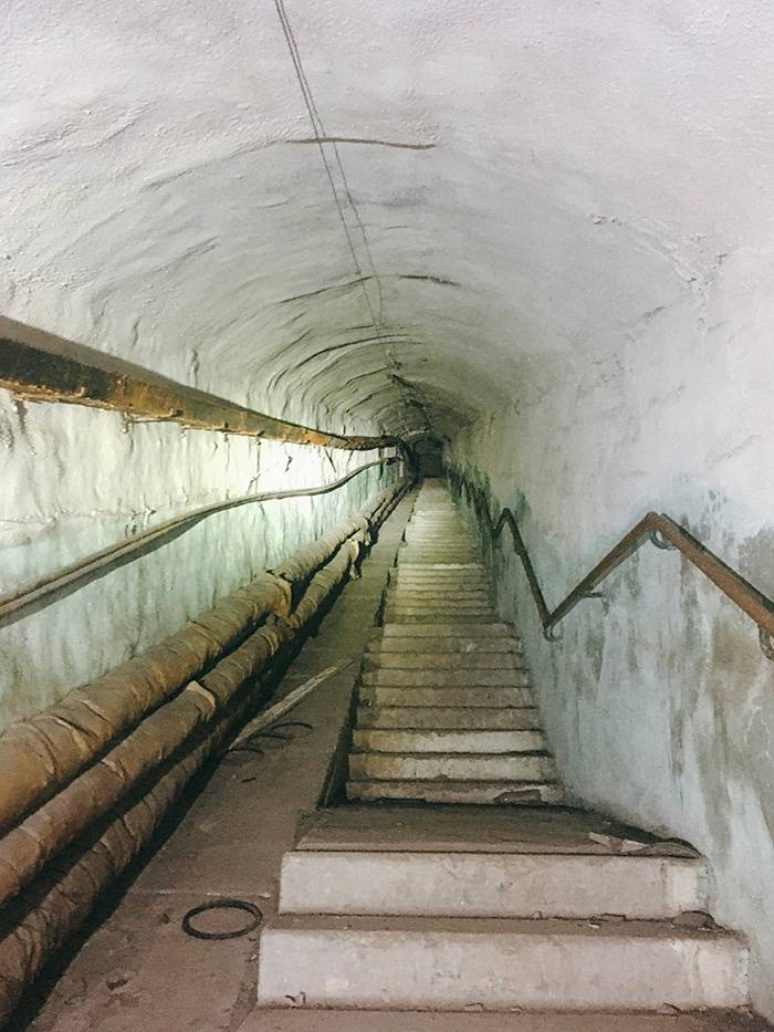 Лестница, ведущая к выходу во двор жилых домов. Пару лет назад в тоннеле было освещение. Сейчас на фото светло от фонариков