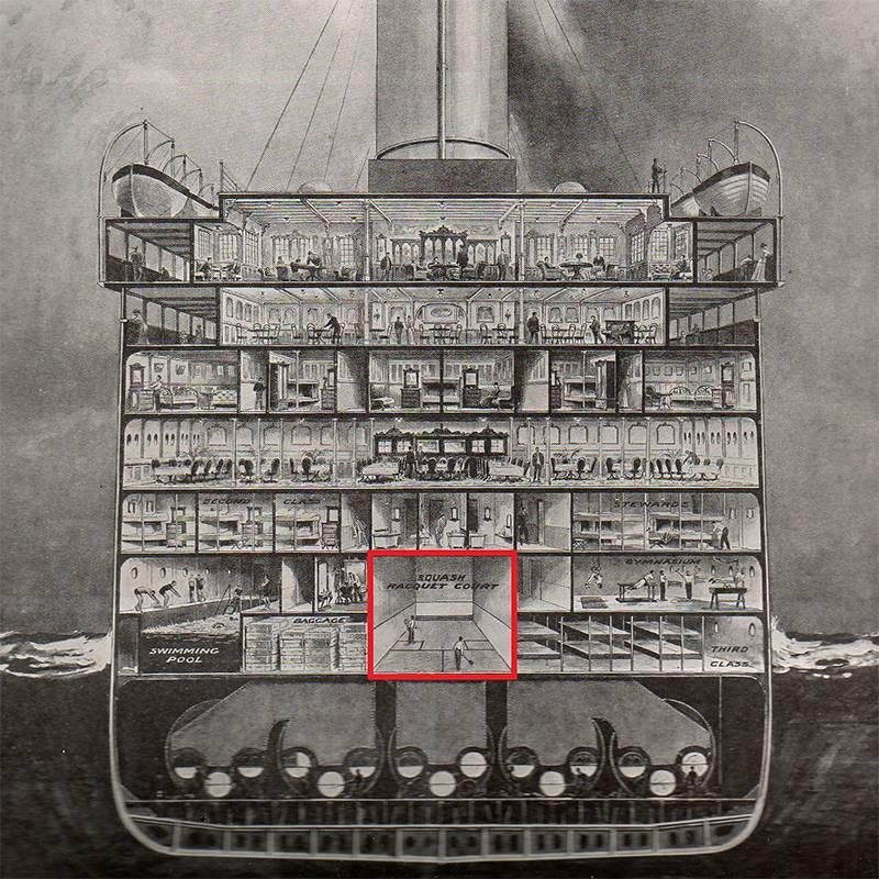 Корт длясквоша на плане «Титаника». Его стены сделали из стали, а на задней находилось смотровое окно, через которое можно было наблюдать за игрой. Источник: wordpress.com