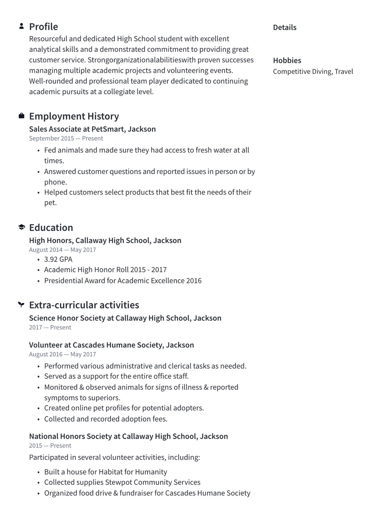 Пример резюме выпускника школы. Источник: Resume.io