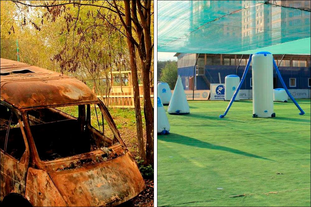 Площадки пейнтбольного клуба «Биг геймс»— открытые иподкуполом. Источники: «Яндекс-карты» и«2ГИС»