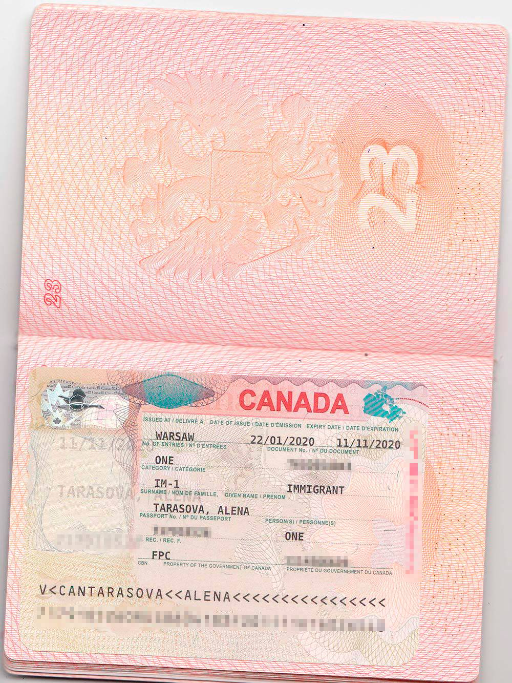 Моя виза для въезда в Канаду