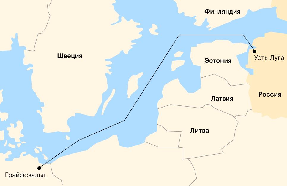 Расположение газопровода «Северный поток—2» Источник: «Газпром»