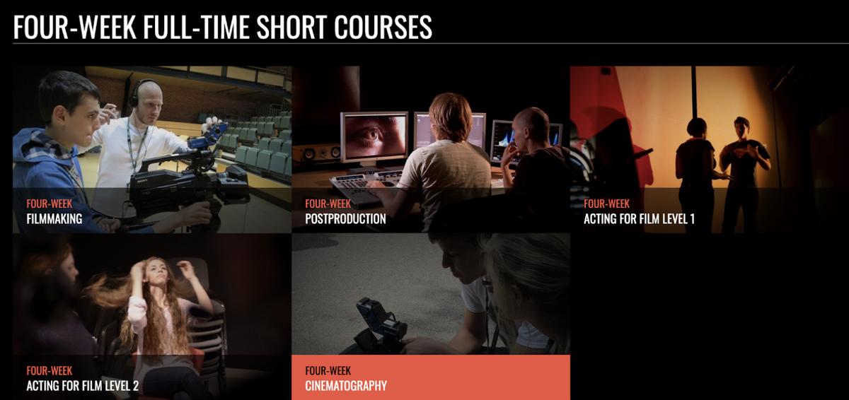 На этой странице сайта MetFilm School London указаны все четырехнедельные курсы. Источник:metfilmschool.ac.uk