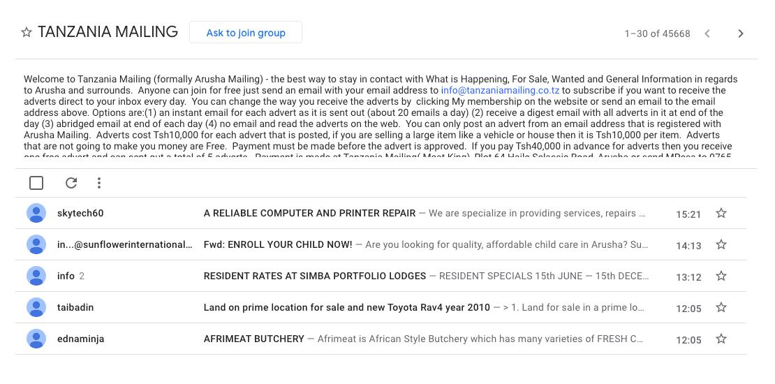 В ящике Tanzania Mailing можно найти почти все: объявления обаренде ипокупке недвижимости ипродаже автомобилей, резюме, предложения работы иразличных услуг