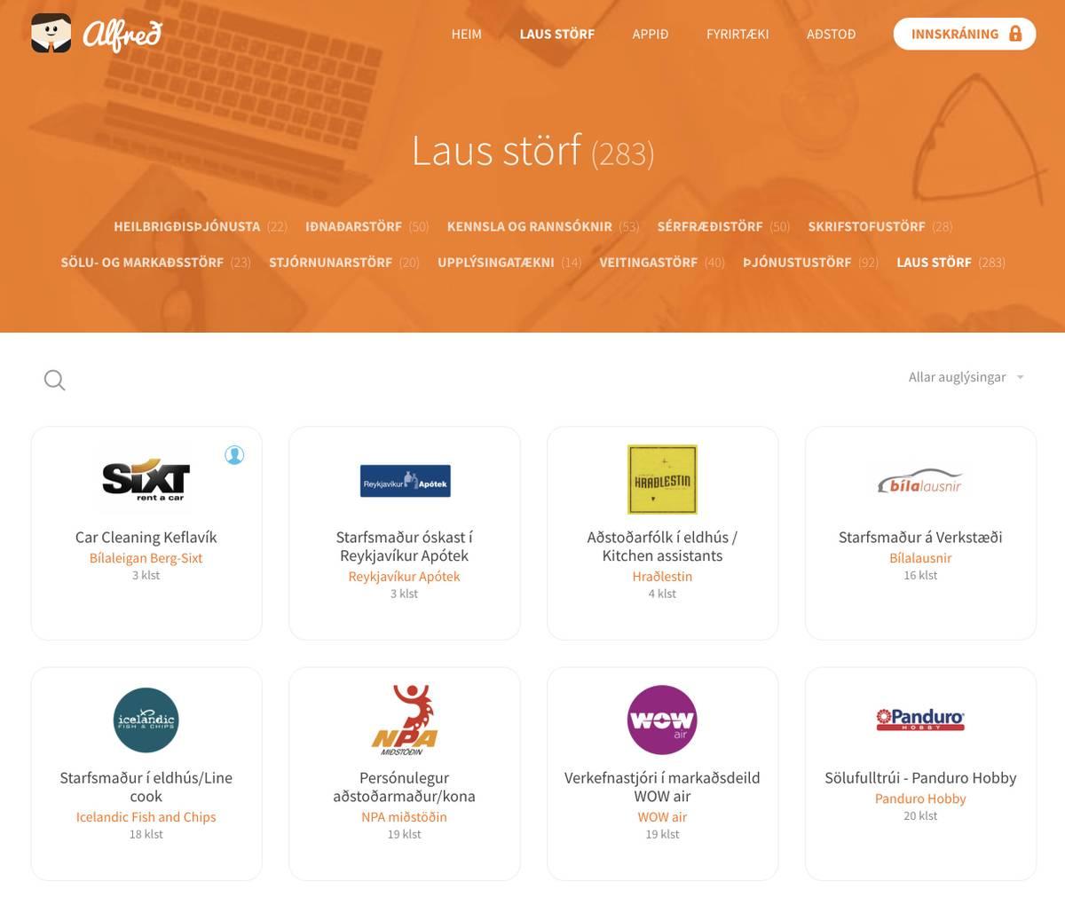Главный в Исландии сайт для поиска работы «Альфред-ис». Английской версии нет. Всего выложено 283 вакансии