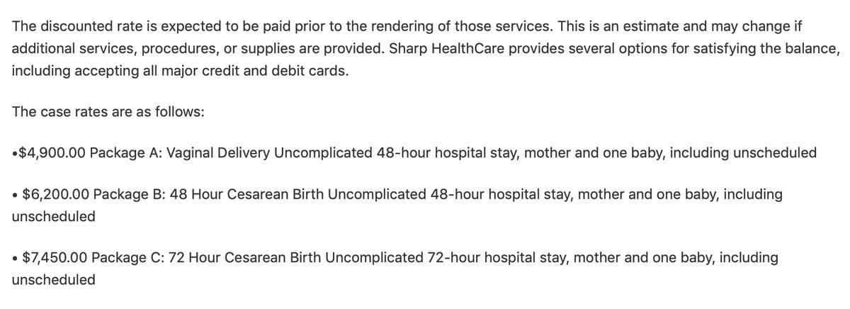 Варианты пакетов из письма госпиталя Sharp. В пакетА за 4900$ входят естественные роды и 48 часов пребывания в госпитале с одним ребенком. В пакетВ — кесарево и 48 часов в госпитале. ПакетС отличается от B временем пребывания в госпитале — 72 часа