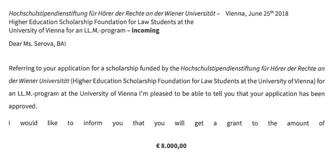 Письмо из&nbsp;университета с&nbsp;подтверждением, что меня приняли и&nbsp;выдадут мне&nbsp;стипендию 8000€ (728 000<span class=ruble>Р</span>)