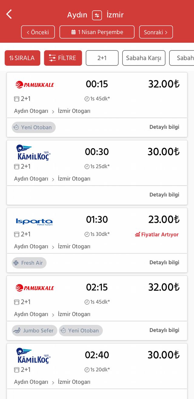 Я покупаю билеты на автобус через сайт Obilet: билет из Айдына до Измира обойдется максимум в 32TRY